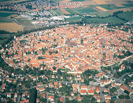 The former Free Imperial City Nördlingen completely encircled by the preserved wall with walkable parapet
